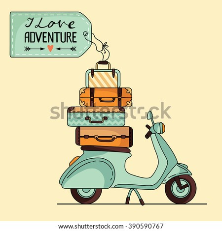 Vintage scooter poster design. Scooter with baggage and space for your text - stock vector