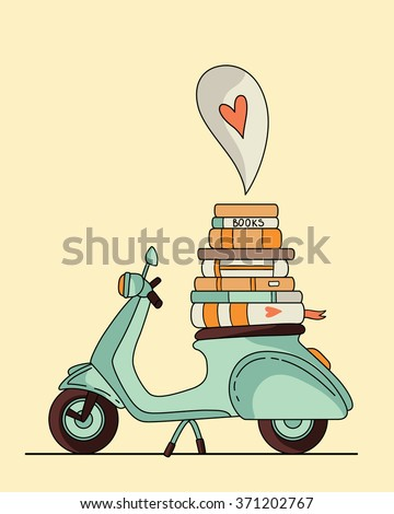 Vintage scooter poster design. Scooter with books - stock vector