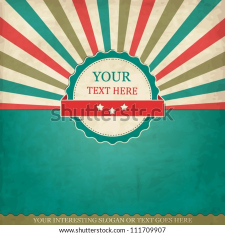 Vintage scrap template with frame and sunbeams - stock vector