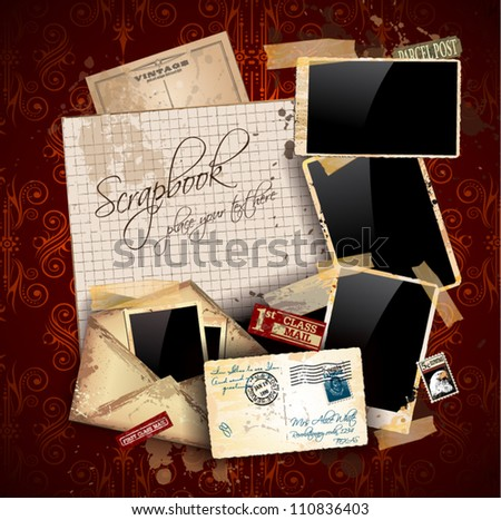 Vintage scrapbook composition with old style distressed postage design elements and antique photo frames plus some post stickers. - stock vector