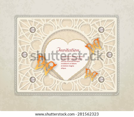 Vintage scrapbooking set with butterflies, heart, pearls  and paper frame. Vector illustration of an old background. - stock vector