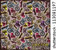 Vintage scratched background with  bicycles,skateboards and rollers. - stock vector