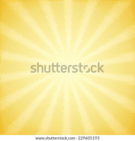 Vintage scratched card with halftone sun rays - stock vector