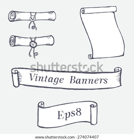 Vintage scroll banners collection. Elements for design. Curled roll with wax. - stock vector