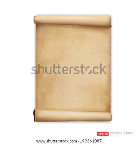 vintage scroll paper vector format - stock vector