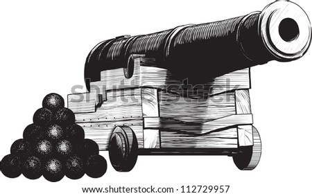vintage sea gun and ammunition drawn like engraving. isolated on white background - stock vector