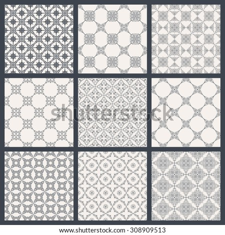 Vintage seamless background set in oriental style. Black and white monochrome wallpapers. Patterns for design. Traditional baroque decor - stock vector