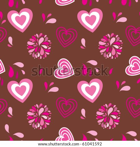 Vintage seamless background with hearts and flowers - stock vector