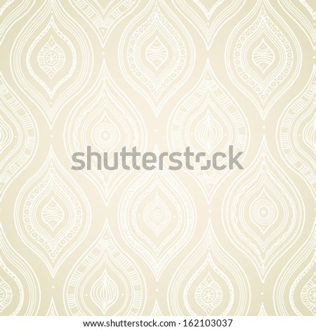 Vintage seamless background with lacy ornament. Ethnic decorative pattern. Background in rustic style. Light backdrop. - stock vector