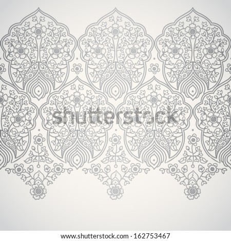 Vintage seamless border with lacy ornament. Light silver pattern.You can place your text in the empty frame. It can be used for decorating of wedding invitations, greeting cards, decoration for bags. - stock vector