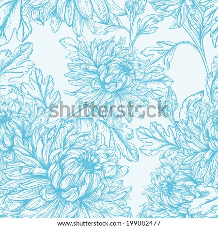 Vintage seamless  floral pattern with flowers chrysanthemum. Vector illustration. Monochrome background. - stock vector
