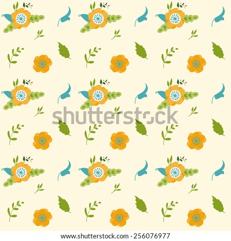 Vintage seamless floral vector background - stock vector