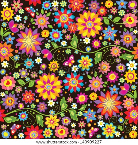 Vintage seamless floral wallpaper - stock vector