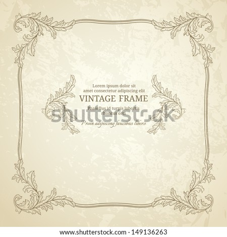 Vintage seamless frame with grunge texture - stock vector