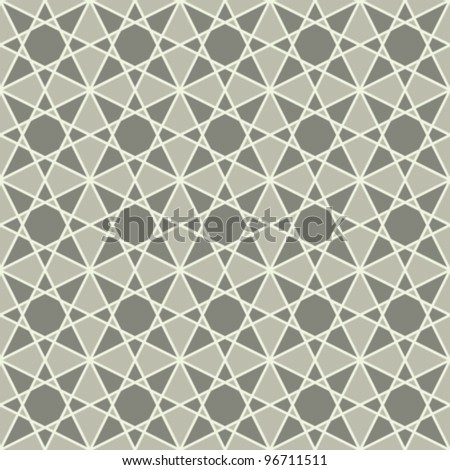 vintage seamless monochrome geometrical mosaic pattern background - stock vector