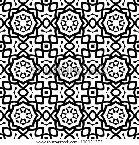 Vintage seamless ornate black and white pattern background vector illustration - stock vector