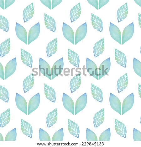 Vintage seamless pattern based on geometric shapes. Watercolor paint. Can be used as decoration for the gift boxes, wallpapers, backgrounds, web sites. The ornament with green leaves. Nature theme. - stock vector