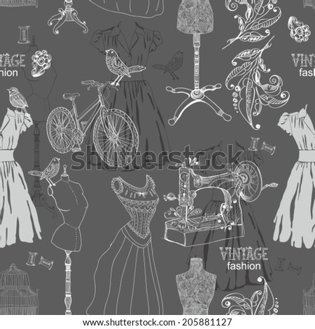 Vintage Seamless pattern - fashion and sewing, illustration, VECTOR - stock vector