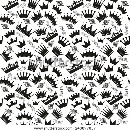 Vintage seamless pattern of crowns - stock vector