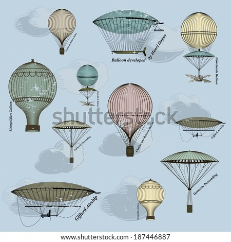 Vintage  seamless pattern of hot air balloons and airships ,  background. Seamless pattern can be used for wallpaper, pattern fills, web page background,surface textures. Gorgeous seamless  background - stock vector