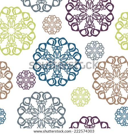 Vintage seamless pattern with circle elements of snowflake ornaments. illustration, vector - stock vector