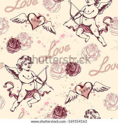Vintage seamless pattern with Cupid for Valentine's day - stock vector