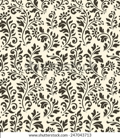 Vintage seamless pattern with flowers and other flourish elements - stock vector