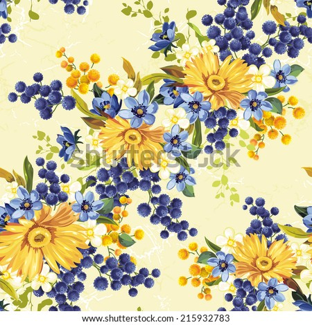 Vintage seamless pattern with gerberas - stock vector