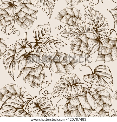 Vintage seamless pattern with hops and leaves. Hops hand drawn in artistic engraved style. Vector illustration. - stock vector