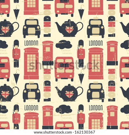 Vintage seamless pattern with London symbols. - stock vector