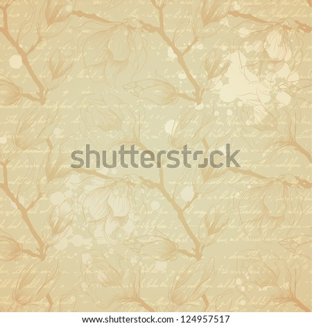 Vintage seamless pattern with magnolia flowers - stock vector