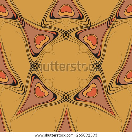 vintage seamless pattern with peacock feathers on yellow background vector illustration. For continuous replication. - stock vector