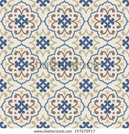 vintage seamless pattern with Victorian motives, TILE - stock vector