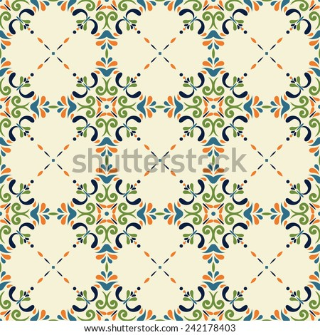 vintage seamless pattern with Victorian motives, TILE template - stock vector