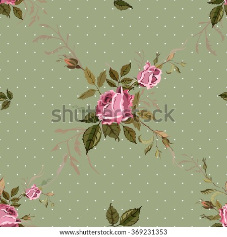 Vintage Seamless Shabby Chic pattern with roses  - stock vector