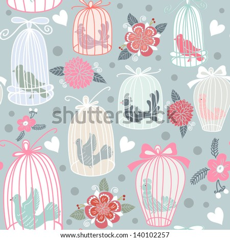 Vintage seamless texture with birds, cages and flowers. Seamless pattern can be used for wallpaper, pattern fills, web page background,surface textures. Gorgeous seamless floral background. - stock vector