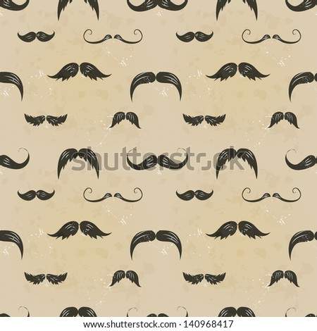 Vintage seamless texture with moustaches. Can be used for wallpaper, pattern fills, textile, web page background, surface textures. - stock vector