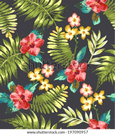 vintage seamless tropical flowers vector pattern summer collection - stock vector