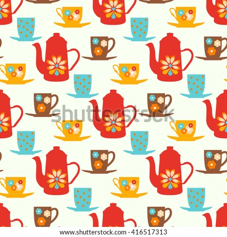 Vintage seamless vector pattern with teapots, tea mugs and  coffee cups - stock vector