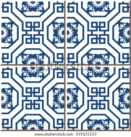 Vintage seamless wall tiles of Chinese blue octagon spiral square flower. Vintage tile patterns can be used for wallpaper, pattern fills, web page background, surface textures.  - stock vector