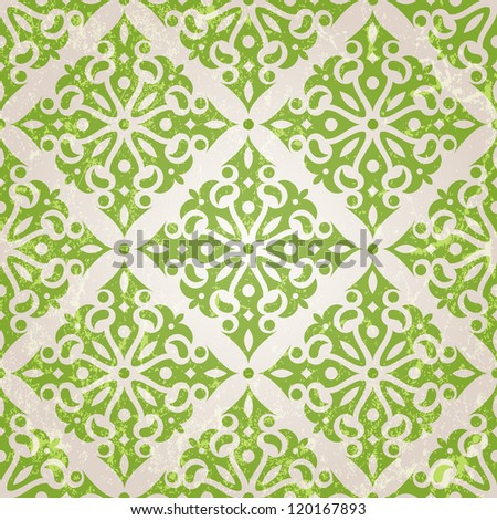 Vintage seamless wallpaper. EPS 10 vector illustration.  Grunge effect can be removed. - stock vector