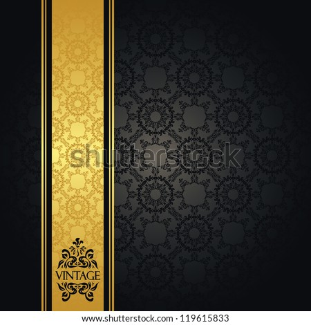 Vintage seamless wallpaper with a gold ribbon. Can be used as invitation or card - stock vector