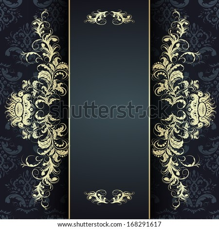 Vintage seamless wallpaper with a ribbon and frame. Can be used as card or invitation - stock vector