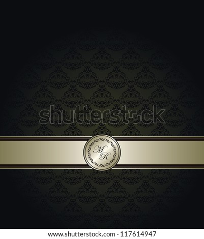 Vintage seamless wallpaper with a silver ribbon. Can be used as greeting card or invitation - stock vector