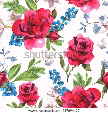 Vintage Seamless Watercolor Background with Blooming Red Roses and Blueberries, Vector Illustration - stock vector