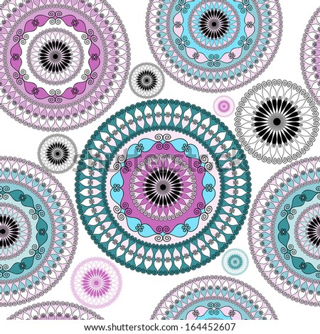 Vintage seamless white pattern with colorful lacy circles (vector) - stock vector