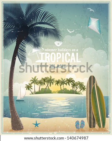 Vintage seaside view poster. Vector background. - stock vector