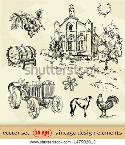 Vintage set. Agriculture. hand drawing - stock vector
