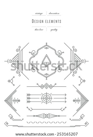 Vintage set - calligraphic design elements, thin line ( variable line width ) - stock vector