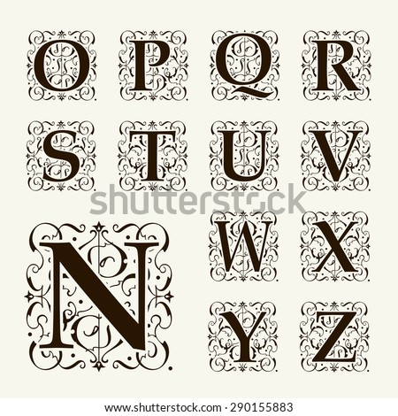 Vintage set capital letters, floral Monograms and beautiful filigree font. Art Deco, Nouveau, Modern style. - stock vector